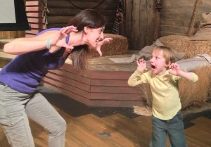 Playing lion: Volunteer acting teacher Jacinta Marasco and 4-year-old Max warm up at the Edgemar Center for the Arts. (Photo courtesy Edgemar Center for the Arts)