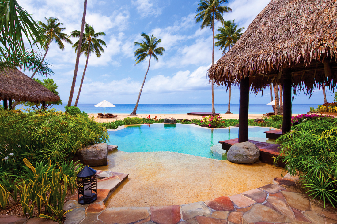 A private villa at the Laucala Island Resort in Fiji comes with an infinity pool and private beach.