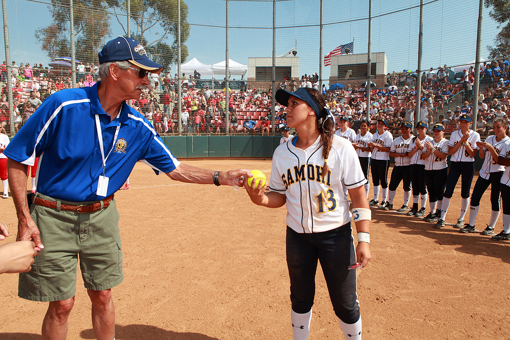 Samohi's Sara Garcia (right) receives a game ball on Saturday after losing to Hemet in the CIF-SS Division 4 championship game. (Photo by Wendy Perl)