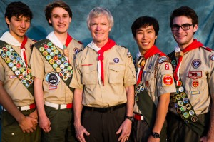 Troop 2 Eagle Scout candidates (L to R) Jake Alfred Erlandson, Bret K. Hart, Scoutmaster Dr. Steve Marcy, Peter Myung-Won Pak, and Matthew Lawrence Hawkins. (Photo courtesy Ken Sleeper)