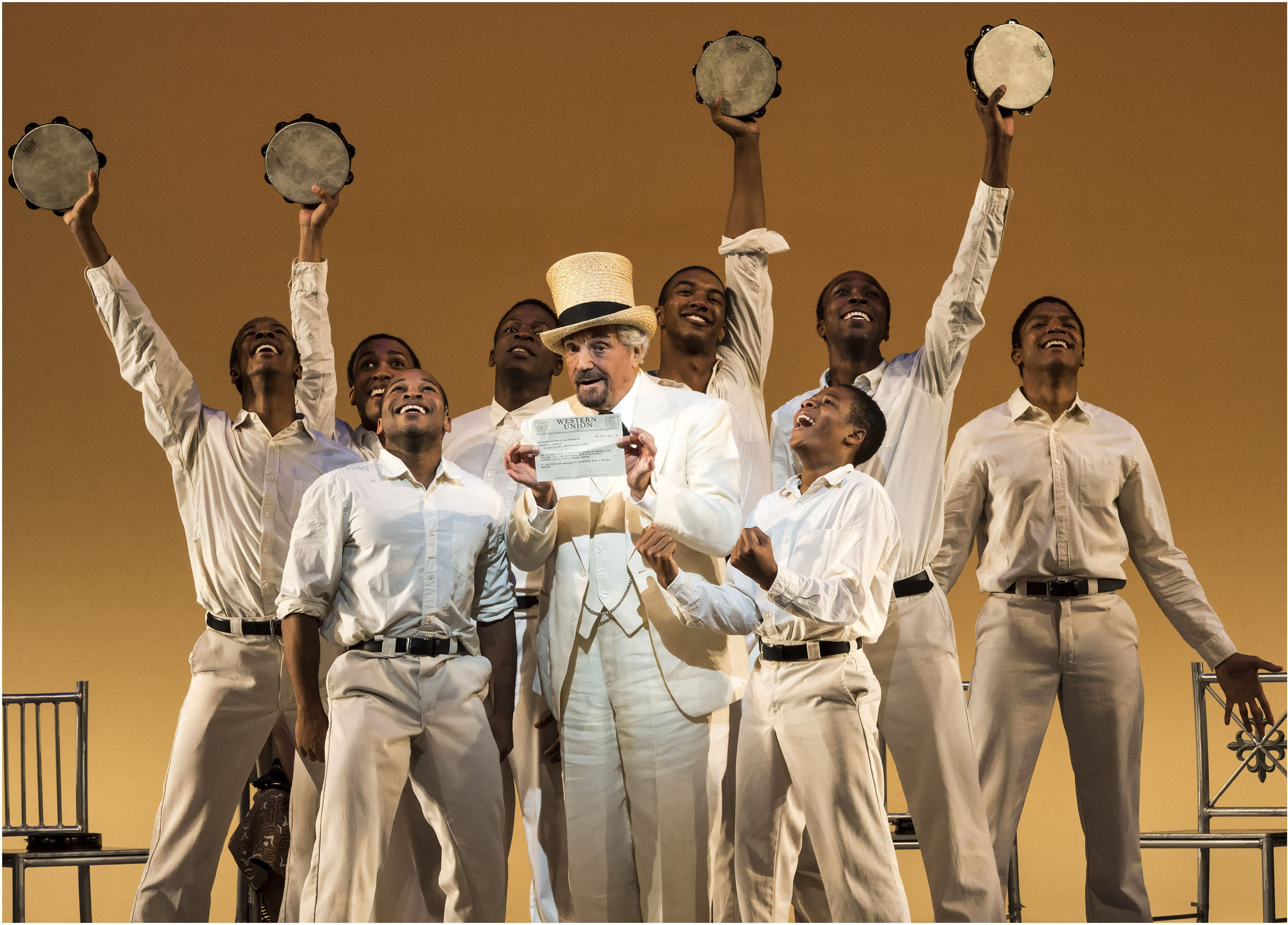 Veteran stage and screen actor Hal Linden (center) stars in 'The Scottsboro Boys,' a powerful musical based on the true story of several young black men falsely accused of raping two white women in the 1930s. (Photo by Craig Schwartz)