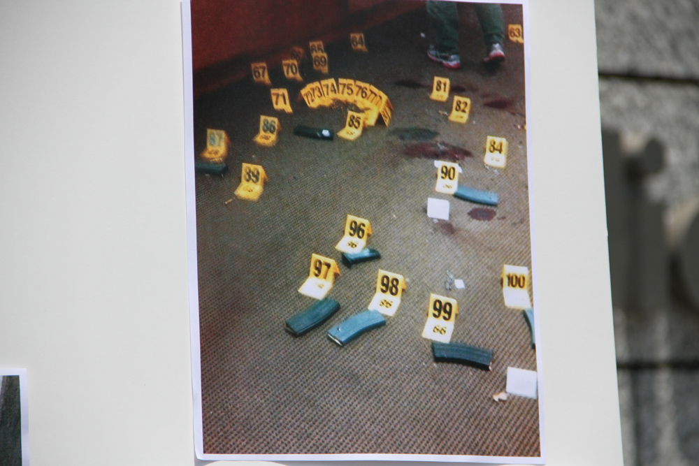 A photo provided by the Santa Monica Police Department shows a significant number of spent shell casings, full ammo clips and blood at the Santa Monica College Library.