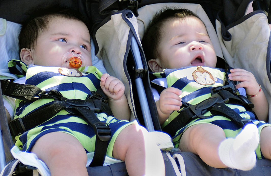 File photo DOUBLE TROUBLE: Two babies wear identical outfits as they take a stroll on the Santa Monica Pier. (File photo)