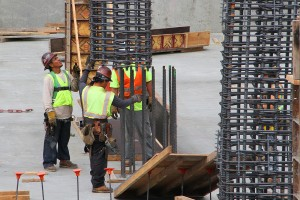 COMING SOON: A crew installs a rebar support at a construction site on Broadway on Wednesday. (Photo by Daniel Archuleta)