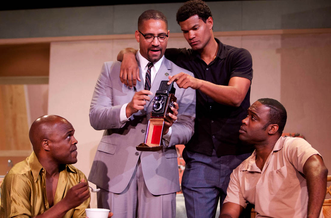 Ty Jones (as Sam Cooke), Jason Delane (as Malcom X), Matt Jones (as Cassius Clay), and Kevin Daniels (as Jim Brown) in Rogue Machine's 'One Night in Miami' by Kemp Powers.