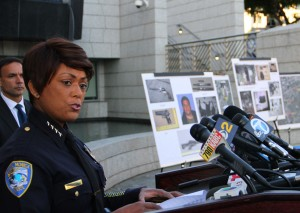 Santa Monica Police Chief Jacqueline Seabrooks reveals new details regarding Friday's shooting spree during a press conference at the Public Safety Facility on Thursday. (Photo by Daniel Archuleta)