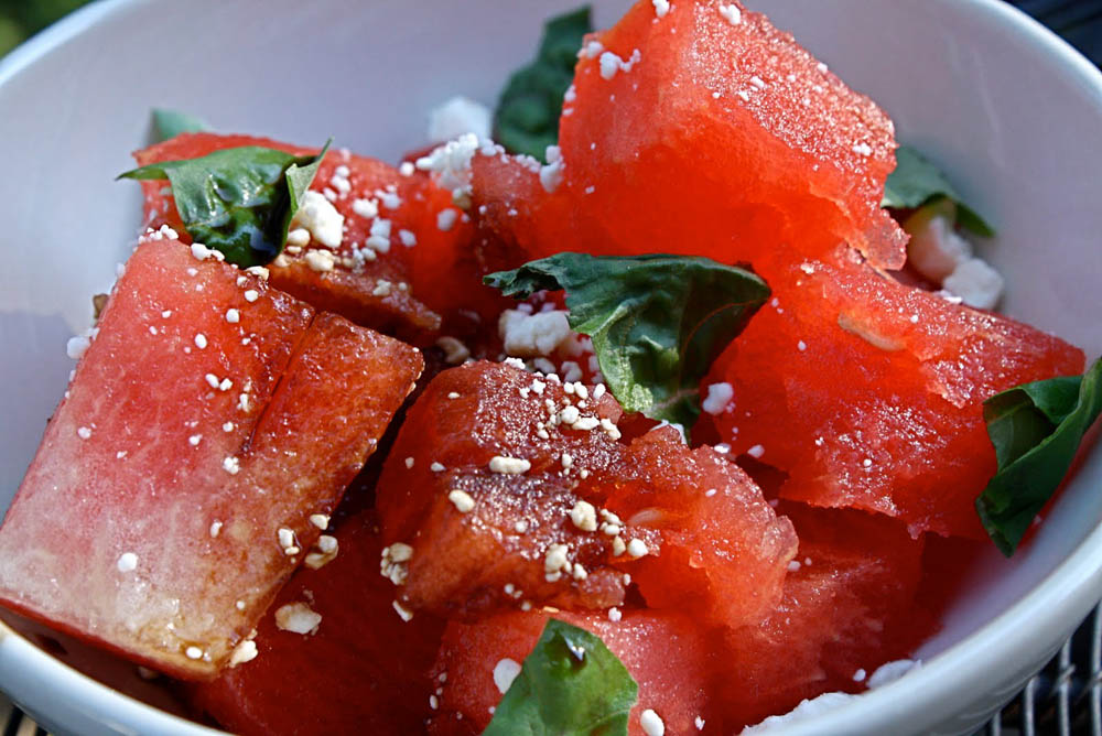 For a refreshing summer snack, try this watermelon and feta salad. (Photo courtesy Google Images)