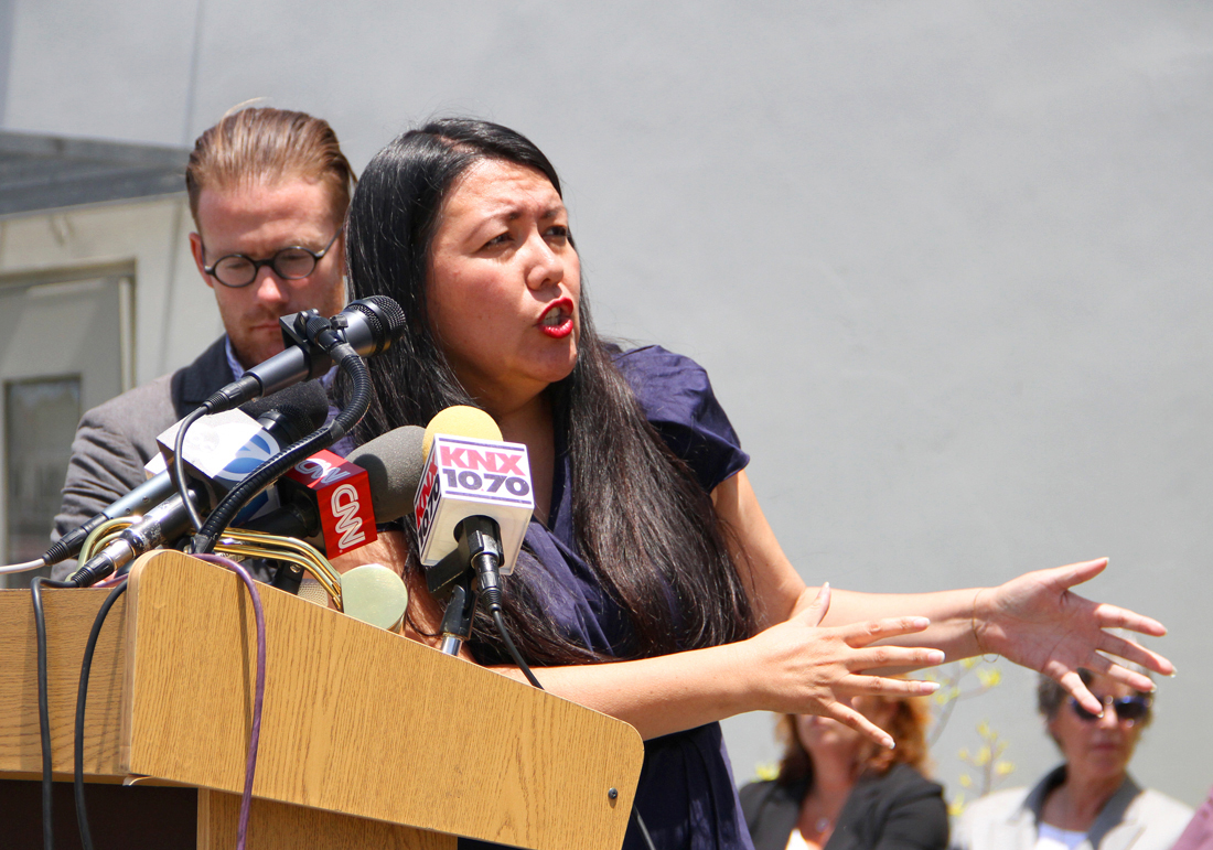 Community activist Irma Carranza discusses the Cradle to Career initiative during a press conference introducing the new Youth & Family Violence Prevention Fund on Tuesday at Virginia Avenue Park. (Photo by Daniel Archuleta)