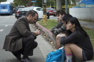 Students at Santa Monica College are interviewed by a detective after the shooting.