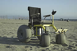 The Beachcomber, a wheelchair that has some of the rough-and-ready characteristics of a go-kart but with nice touches like cupholders. (Photo courtesy Hotshot Products)