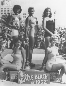 Pulchritude: Beverly Jocher (center) was inducted into the Muscle Beach Hall of Fame.