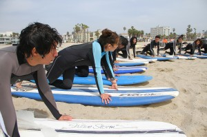 Learn to Surf L.A. students learn the basics of surfing during this spring class. (Photo by Daniel Archuleta)