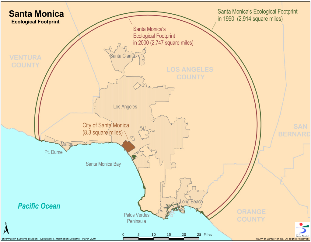 BIG: This map illustrates how many square miles it takes to support Santa Monica's population. (Image courtesy city of Santa Monica)