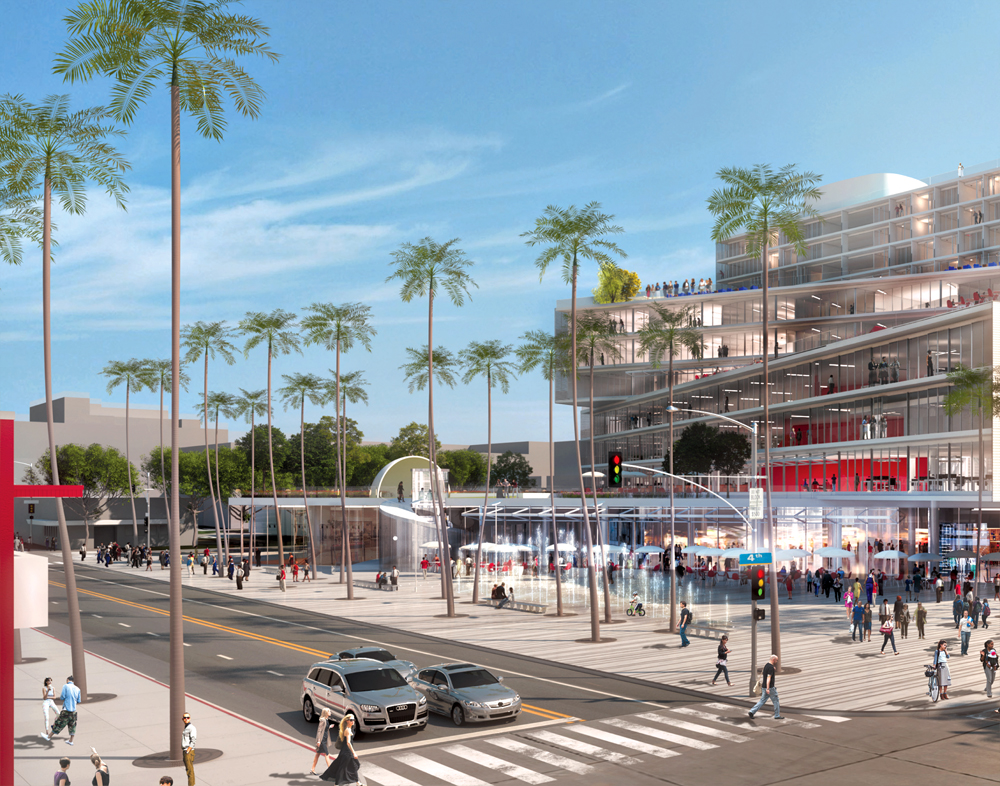 NEW: This rendering depicts a development being proposed for the corner of Fourth Street and Arizona Avenue in Downtown. (Courtesy Metropolitan Pacific Capital)