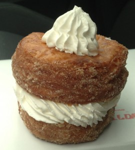 DK's Donuts on Santa Monica Boulevard serves various types of Cronuts, including one with cinnamon and sugar with a cream filling. (Michael Ryan michael@smdp.com)