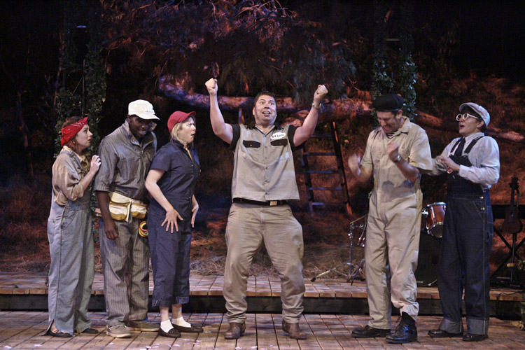 PRACTICE: The Athenian tradesmen (Marcella Letz Pope, Desean Terry, Jenna Johnson, Michael Manuel, Brian Joseph, Jason Frank) rehearse a scene from 'A Midsummer Night's Dream.' (Courtesy Michael Lamont)