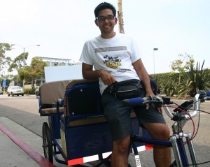 Jose Prats, founder of L.A. Bike Taxi, the first pedicab company to operate in Santa Monica under new rules approved by the City Council in April. Prats' pedicabs hit the streets for the first time July 18. (Kevin Herrera kevinh@smdp.com)