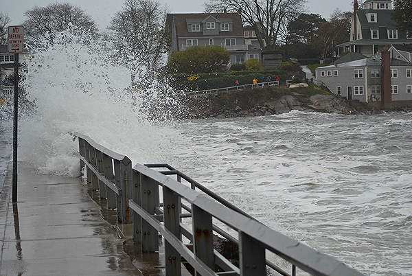 Most Earth scientists agree that future sea levels will rise at a greater pace than during the last 50 years. Coastal communities will suffer the most, as flooding from rising water levels will force millions of people out of their homes. Pictured: flooding in Marblehead, Massachusetts caused by Hurricane Sandy on Oct. 29, 2012. (Photo courtesy The Berkes)