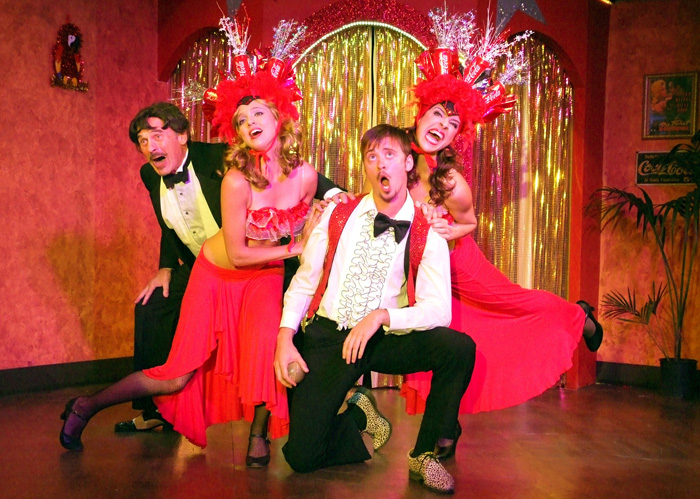 COLORFUL CAST: Ron House, Lila Dupree, Aaron Miller and Nina Brissey in The Ruskin Group Theatre production of 'El Grande de Coca Cola.' The production plays through Aug. 1. (Photo courtesy Ed Krieger)