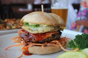 The Seoul Burger at Truxton's American Bistro, now serving a wide variety of dishes at the corner of 14th Street and Santa Monica Boulevard. (Michael Ryan michael@smdp.com)