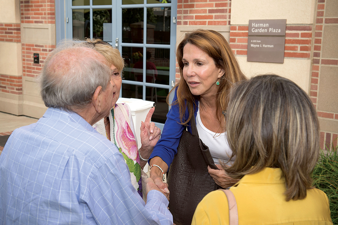 WELCOMING: Patti Davis greets attendees at a July 25 reception to mark the one-year anniversary of the UCLA Alzheimer's and Dementia Care Program at Santa Monica-UCLA Medical Center. (Photo courtesy Thomas Neerken)