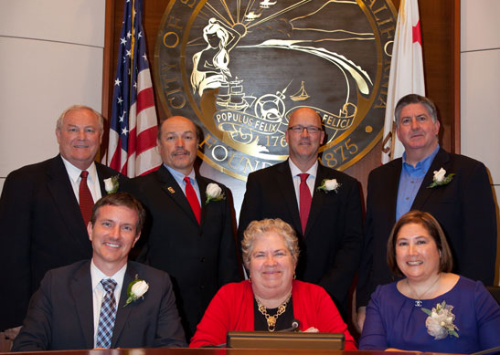 Current members of the Santa Monica City Council. (Photo courtesy city of Santa Monica)