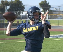 THROWING DARTS: Jordan Detamore throws during quarterback workouts on Tuesday afternoon at Santa Monica High School. (Paul Alvarez Jr. editor@smdp.com)