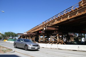 A bridge over Olympic and Cloverfield boulevards is currently under construction for the forthcoming Expo Light Rail Line. (File photo)