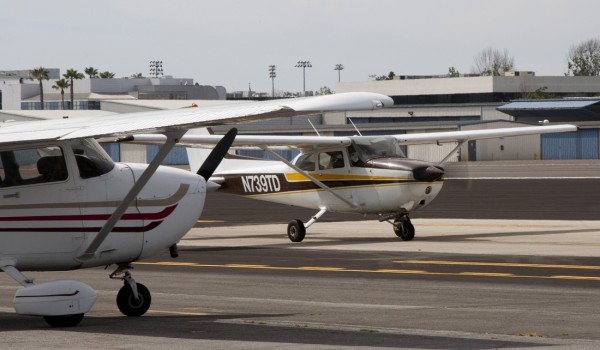 A Cessna idles down the runway at Santa Monica Airport. (File photo)