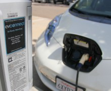 A car powers up at a bank of electric vehicle charging stations located at Virginia Avenue Park. (Daniel Archuleta daniela@smdp.com)