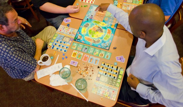 MAKING MOVES: Westside Gamers gather at the Denny's on Lincoln Boulevard last week to play board games. (Paul Alvarez Jr. editor@smdp.com)