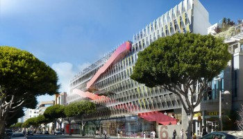 A rendering of Parking Structure 6 and its storefronts on Second Street. (Image courtesy City of Santa Monica)