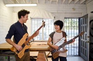 Noah Watenmaker and Thao Pham jam together on their kitars in their studio by Bergamot Station. (Paul Alvarez, Jr. editor@smdp.com)
