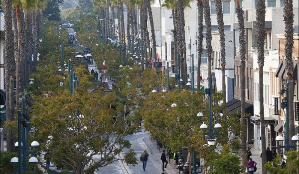 Visitors and locals walk down the Third Street Promenade on Tuesday afternoon.