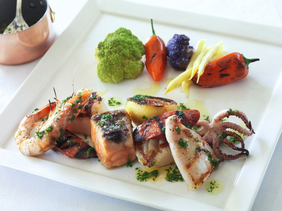 Seafood served straight forward with fresh vegetables is Chef Mede's approach at Catch. (Photo courtesy Casa del Mar)