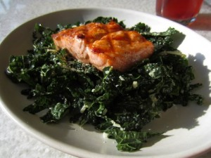 True Food Kitchen's Tuscan kale with salmon may look healthy, but it could use more flavor. (Photo courtesy Google Images.)