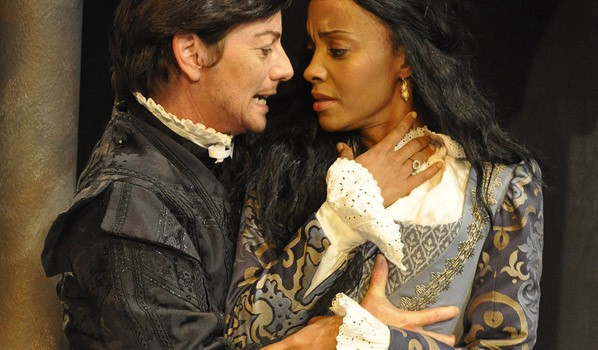 FRESH TAKE: Prince Hamlet (Lisa Wolpe) and Ophelia (Chastity Dotson) star in 'Hamlet.' (Photo courtesy Steven Koeppe)