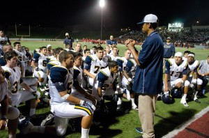 Head coach Travis Clark talks to his team after winning 17-14 against Redondo Union High School at the Sea Hawk bowl last Friday night. (Photo by Paul Alvarez, Jr.)