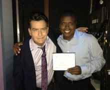 Actor Charlie Sheen (right) with good friend Tony Todd backstage at 'The Tonight Show with Jay Leno.' (Photo courtesy Tony Todd)