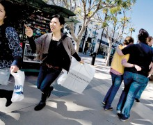 LOCAL: A survey of shoppers conducted by the Buy Local Campaign steering committee showed that the majority of residents believe it is important to shop locally but Santa Monica needs more stores like Target or K-Mart. Pictured: Shoppers make their way down the Third Street Promenade. (File photo)