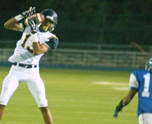 Samohi's Dekai Whitaker catches a pass against Palisades last week. (Morgan Genser editor@smdp.com)
