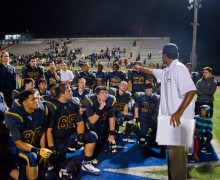 WORDS FOR THE BOYS: Samohi head coach Travis Clark talks to his team after losing to Mater Dei last week at Corsair Field. (Paul Alvarez Jr. editor@smdp.com)