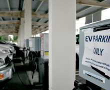 JUICED: City Hall's fleet of electric vehicles line the Civic Center charging station. (File photo)