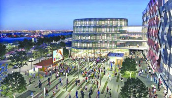 A rendering of the proposed main plaza for the Bergamot Transit Village. (Rendering courtesy Hines Corp./Gensler)