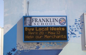 Animated signs like this one at Franklin Elementary School will now be allowed at Santa Monica's private schools. (File photo)