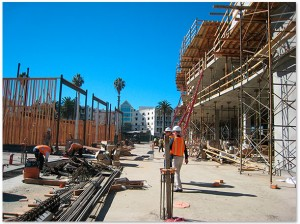 The Village at the Civic Center under construction. Loews Santa Monica Beach Hotel is in the background. (Photo courtesy www.moorerubleyudell.com)