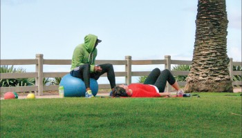 A trainer and a client workout in Palisades Park. (File photo)