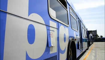 Buses line the Big Blue Bus yard on Monday.