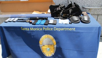 This cache of weapons and ammunition was used by the gunman in the Santa Monica College shootings. (File photo)