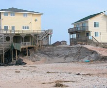 Concerted efforts to curb carbon emissions and eliminate dams on inland waterways are urgently needed, lest we keep spending millions of dollars on beach remediation projects that only have to be repeated over and over again in a losing battle. Pictured: Beach erosion at the Outer Banks, North Carolina. (Courtesy Soil Science at North Carolina State/Flickr)